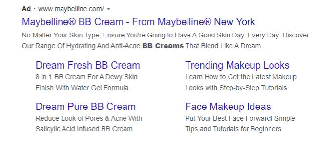 Captura de pantalla de las habilidades de redacción de textos publicitarios de Maybelline PPC