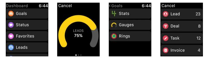 Aplicaciones de Apple Watch Una captura de pantalla de Gro CRM