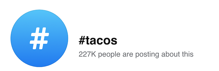 Top Hashtags Vista de Facebook del popular hashtag Tacos