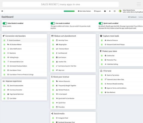 Ventas de aplicaciones de Rocket Shopify