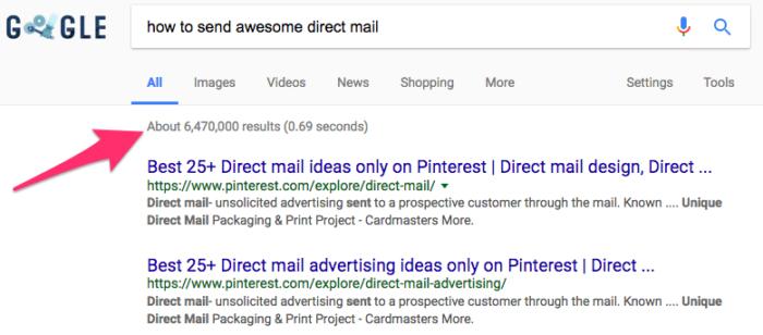 cómo enviar correo directo excelente en la búsqueda de Google