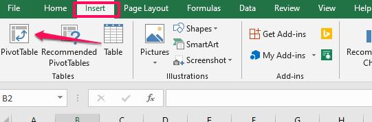 agregar tabla dinámica en Excel
