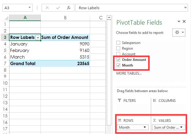 captura de pantalla de la tabla dinámica