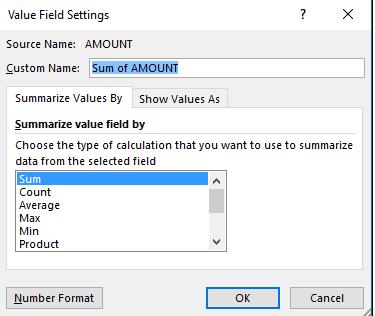 Captura de pantalla de la configuración del campo de tabla dinámica
