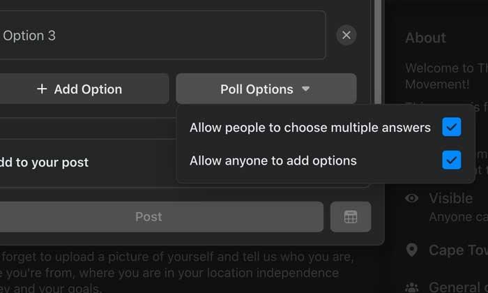 Opciones de encuesta de Facebook