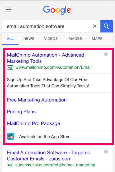 Ejemplo de anuncio para móviles Anuncios de búsqueda pagados