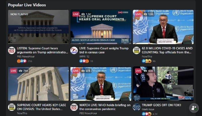 Facebook Ver contenido de video en vivo