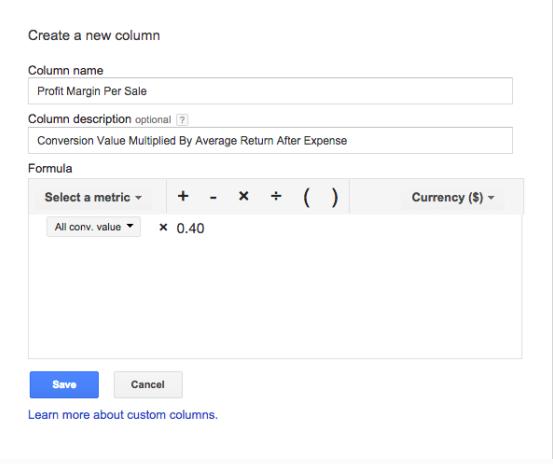 Ejemplo de columna de compilación personalizada de automatización de PPC