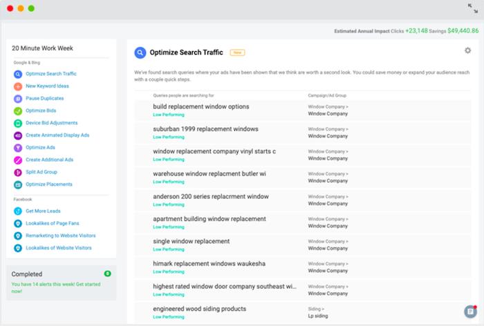 PPC Automation WordStream optimiza la pantalla de tráfico de búsqueda
