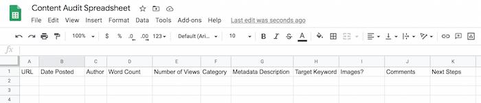 Diseño de hojas de cálculo de auditoría de contenido con hojas de cálculo de Google
