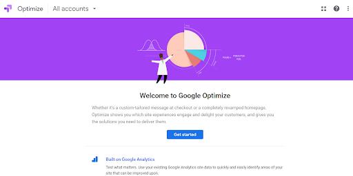 Captura de pantalla de Google Optimize Monetizar el tráfico