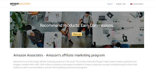 Capturas de pantalla de afiliados de Amazon monetizar el tráfico