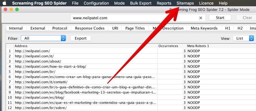 "pestaña sitemaps en Screaming Frog ""class ="" wp-image-26513 ""width ="" 668 ""height ="" 290 ""srcset ="" https://neilpatel.com/wp-content/uploads/2017/03/image16-2. jpg 890w, https://neilpatel.com/wp-content/uploads/2017/03/image16-2-350x152.jpg 350w, https://neilpatel.com/wp-content/uploads/2017/03/image16- 2-768x334.jpg 768w, https://neilpatel.com/wp-content/uploads/2017/03/image16-2-700x304.jpg 700w ""tamaños ="" (ancho máximo: 668px) 100vw, 668px"