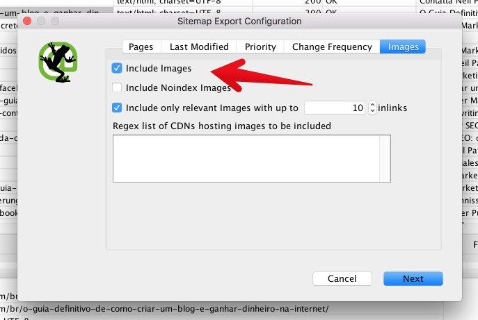 """Configuración de exportación de mapa del sitio XML Screaming Frog """"class ="""" wp-image-26536 """"srcset ="""" https://improvvisa.es/wp-content/uploads/2020/12/1608043893_443_Como-crear-un-mapa-de-sitio-XML-optimizado-para-SEO.jpg 687w , https: // neilpatel. com / wp-content / uploads / 2017/03 / image39-1-350x235.jpg 350w """"tamaños ="""" (ancho máximo: 687px) 100vw, 687px"""