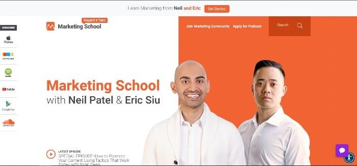 Cómo iniciar un podcast escolar de marketing de podcast con Neil Patel Eric Siu