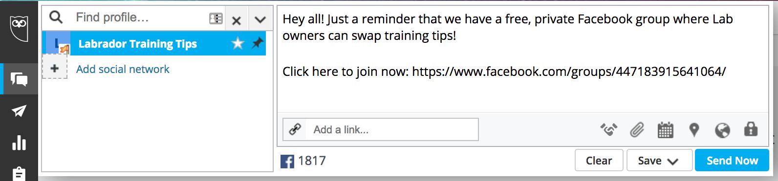 """cómo hacer crecer tu grupo de Facebook programando publicaciones en hootsuite """"width ="""" 398 """"height ="""" 93"""