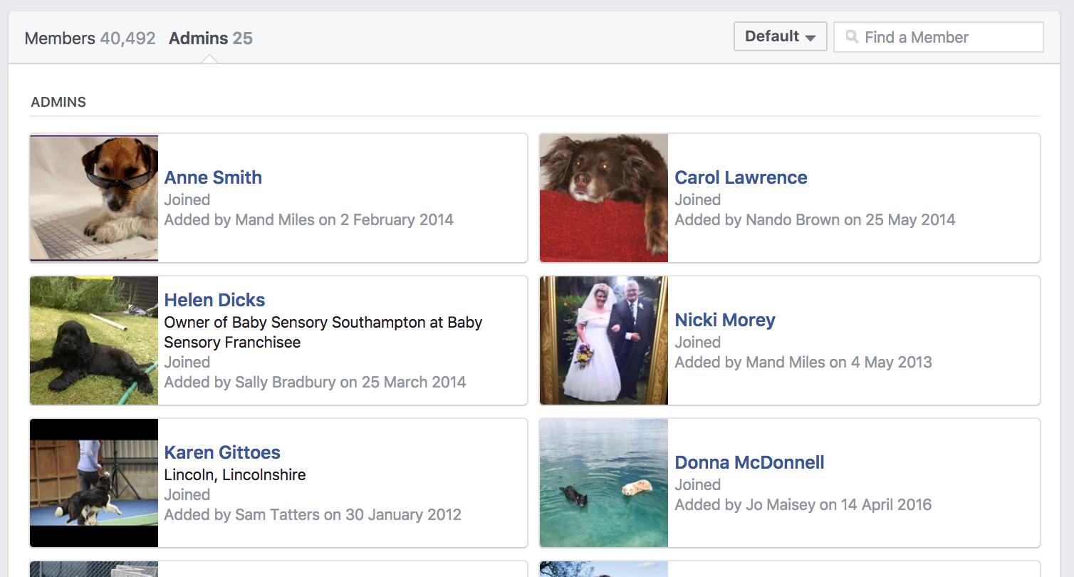 """développez votre groupe facebook cliquez sur administrateurs """"width ="""" 377 """"height ="""" 203"""