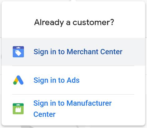 iniciar sesión en Google Lens Merchant Center