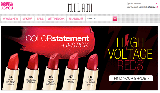 4 ejemplo de psicología del color del sitio web de milani