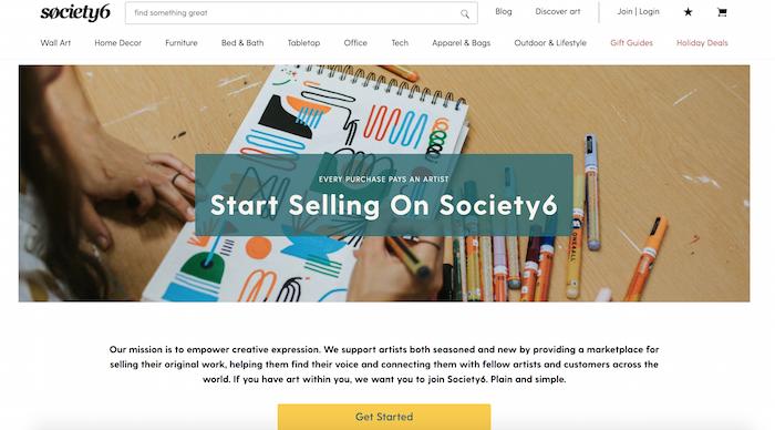 Society6 artista imprimir bajo demanda página