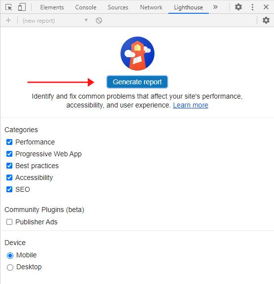 Genere un informe de Google Lighthouse