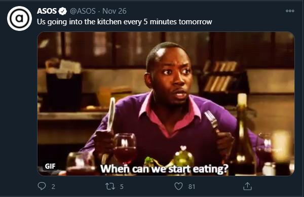 Memes de Twitter de ASOS para el marketing de Acción de Gracias