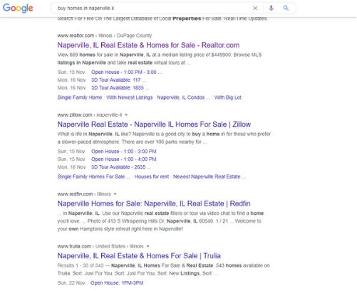 Ejemplo de búsqueda de Google para marketing inmobiliario