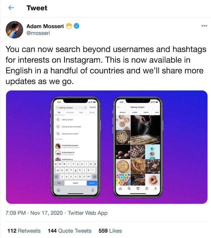 Instagram SEO Adam Mosseris Búsqueda por anuncio de interés en Twitter