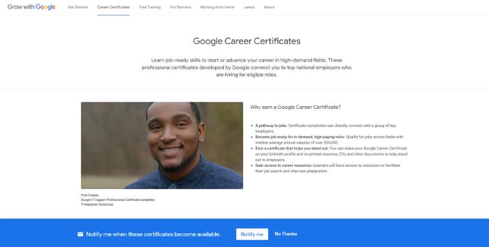 Certificados de Google: página de inicio