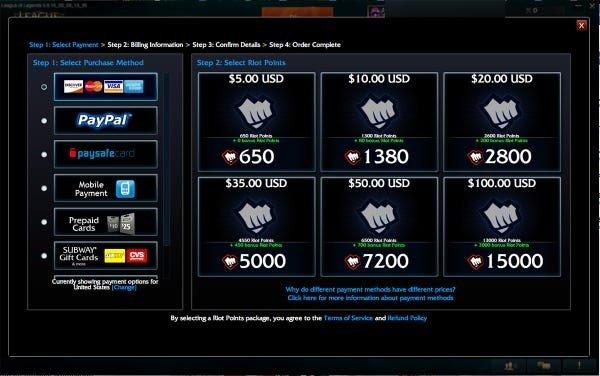 Captura de pantalla de juegos como servicio de League of Legends en la pantalla de compra del juego