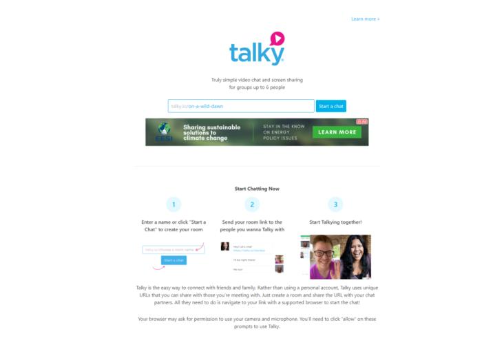 Alternativa de Google Hangouts Live Talky.io