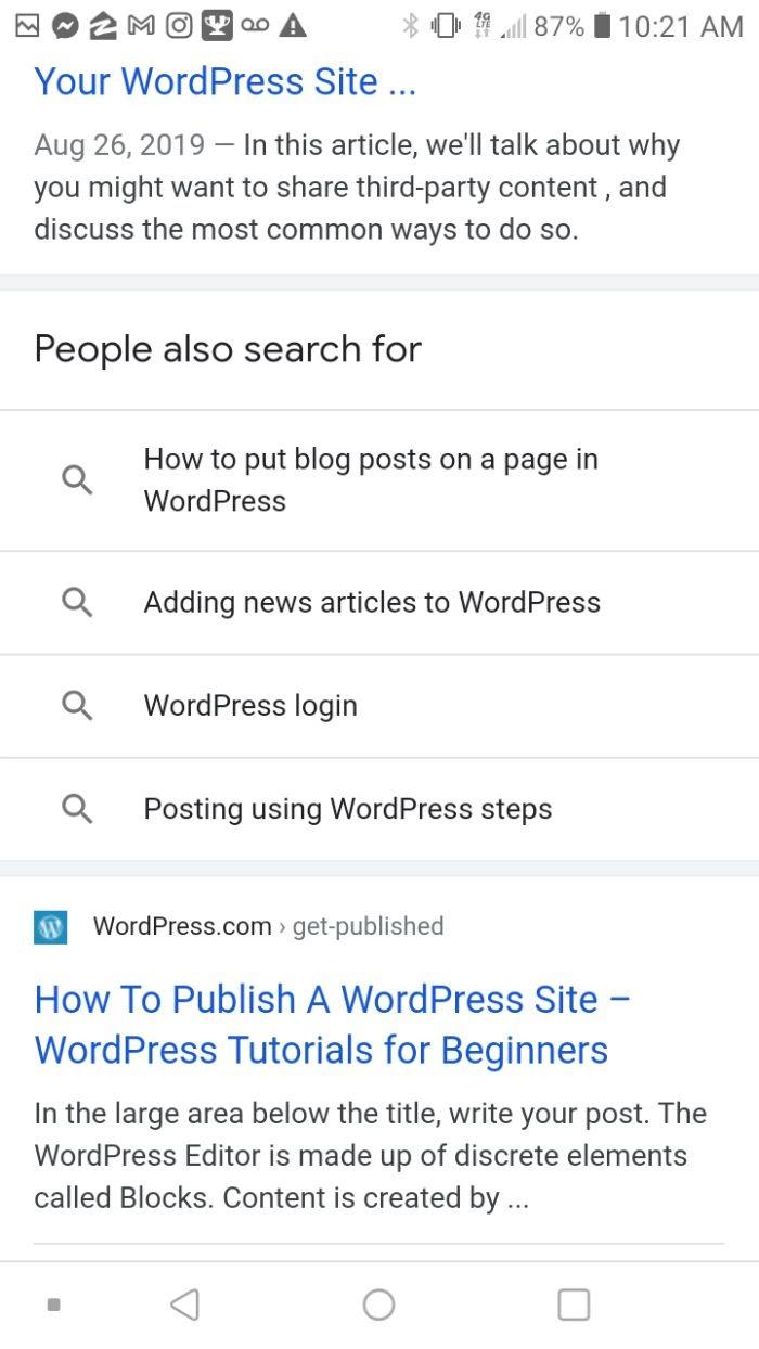 Ejemplo de preguntas y respuestas en Google