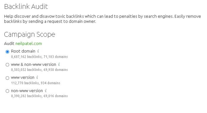 auditoría de backlinks en SEMRush para eliminar información de Google