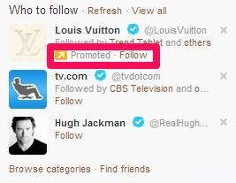 Twitter para SEO promociona anuncios de muestra de cuentas de Twitter