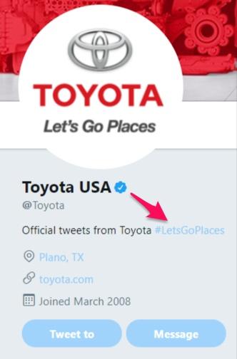 Tendencias de Twitter, ejemplo de SEO en Twitter Toyota Letsgoplaces