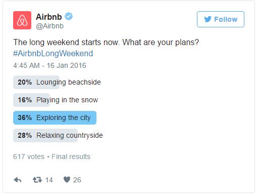 Twitter para ejemplo de encuesta de SEO de airbnb