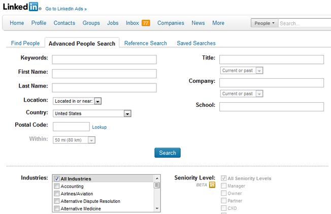 Motores de búsqueda avanzados y alternativos Búsqueda de personas de LinkedIn