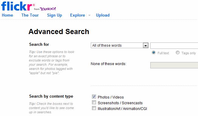motores de búsqueda de flickr avanzados y alternativos