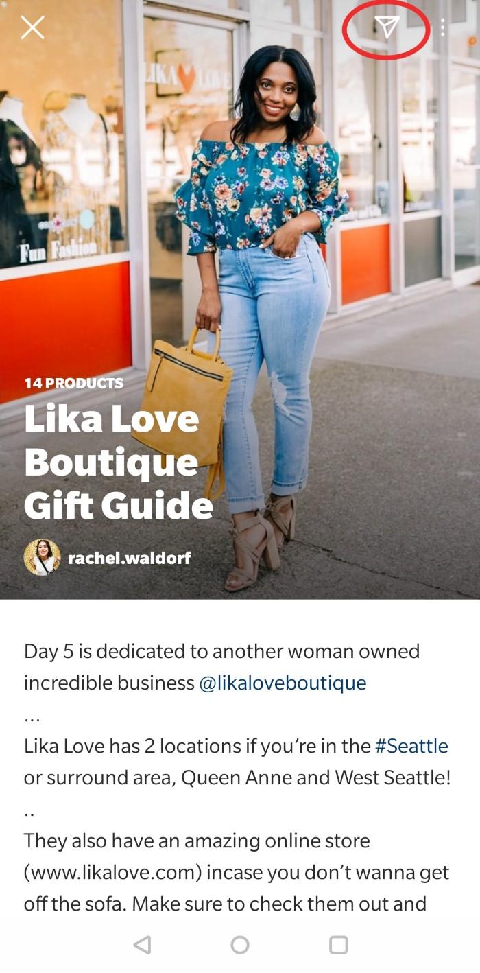 ejemplo de compra de la guía de instagram