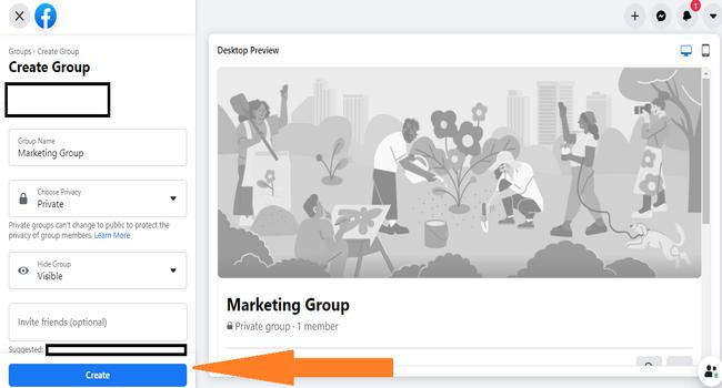 Paso # 2 para crear un grupo de Facebook
