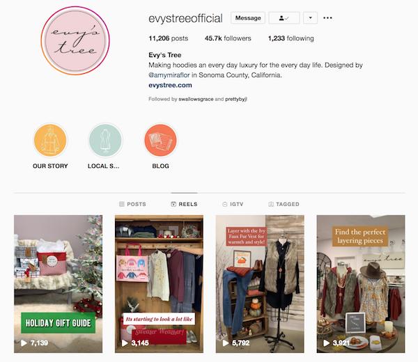 Captura de pantalla de los carretes de instagram de la página de la cuenta