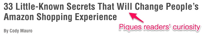 Ejemplo de un título que atrapa la curiosidad de los lectores
