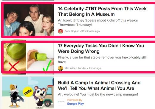 Ejemplos de títulos de listas de Buzzfeed