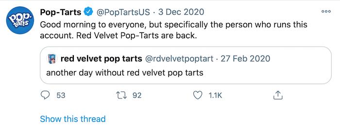 Tweets de voz: ejemplo de poptarts