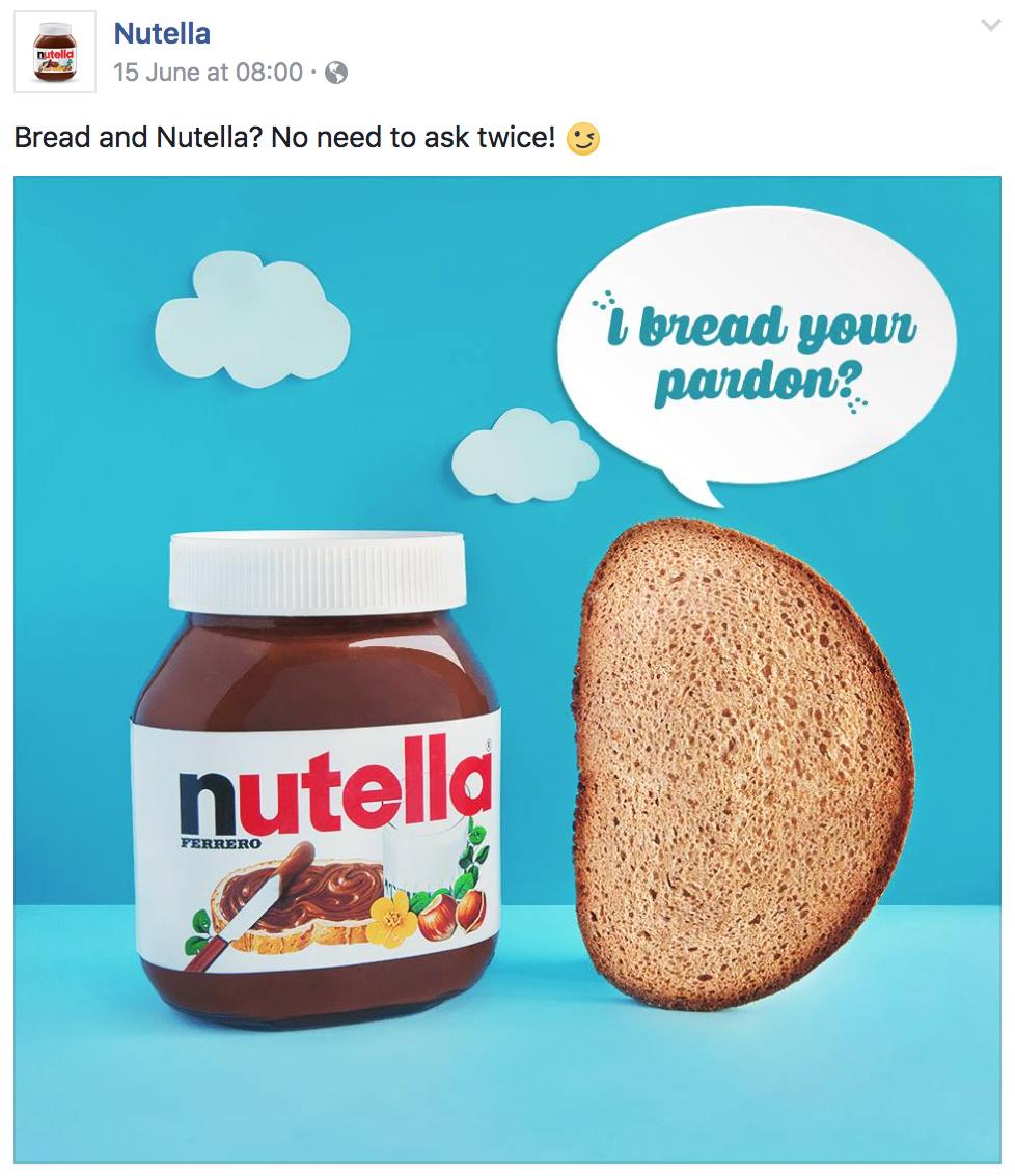 "Ejemplo de Facebook de alcance orgánico nutella ""width ="" 700 ""height ="" 845"
