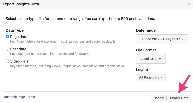 """Opciones de exportación de datos de exportación de alcance orgánico de Facebook. """"ancho ="""" 700 """"alto ="""" 370"""
