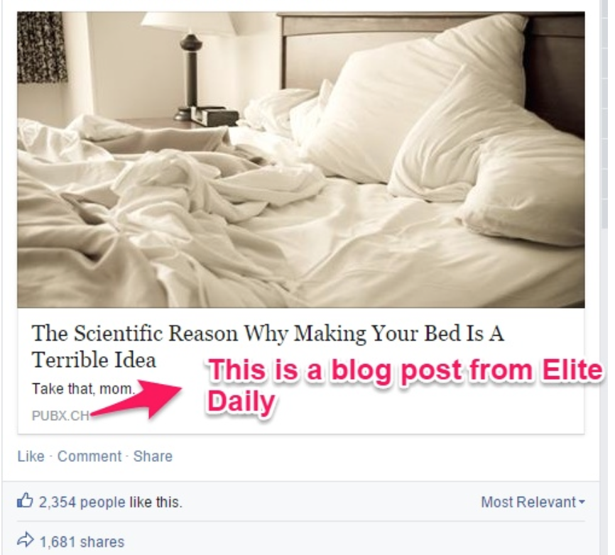 """boost facebook organic reach by cross promoting example """" width=""""433"""" height=""""391"""
