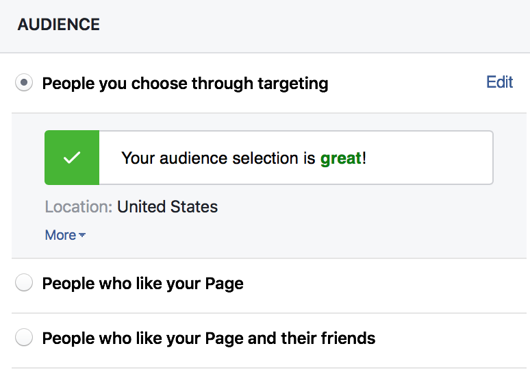 """facebook organic reach choose your audience"""" width=""""387"""" height=""""270"""