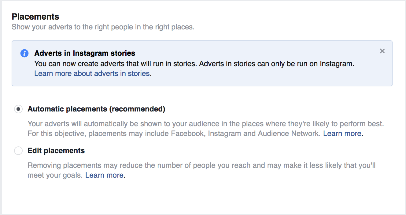 "facebook organic reach set ad location "" width=""664"" height=""351"