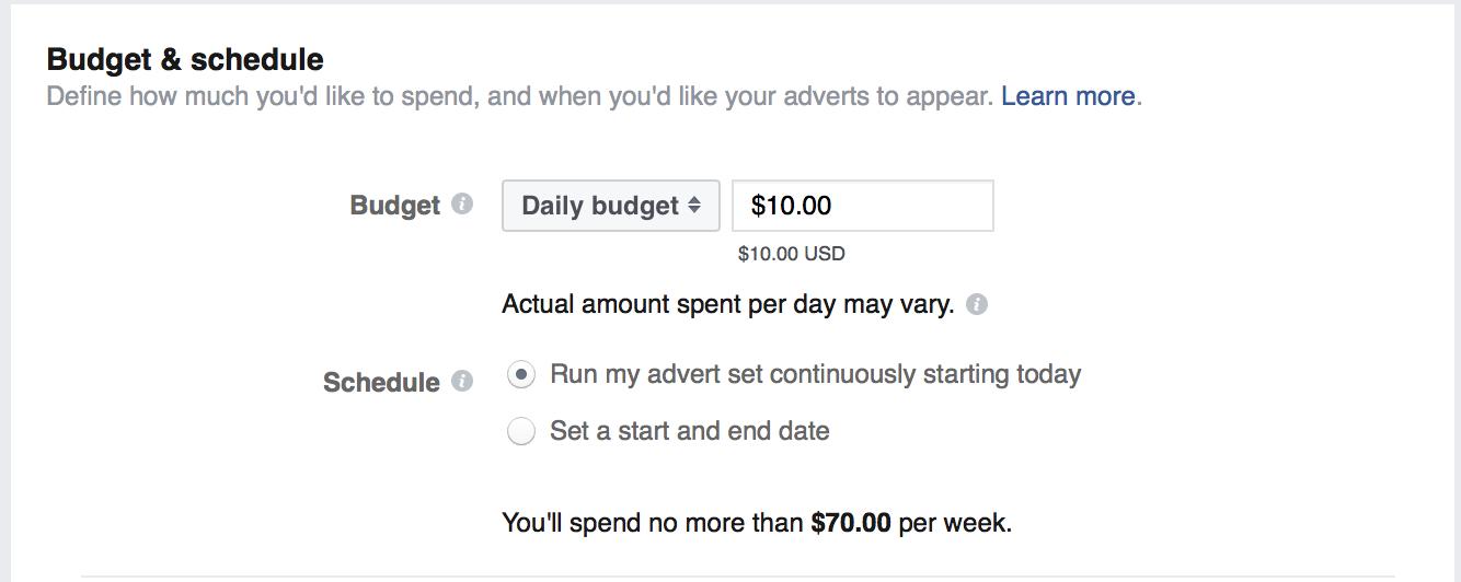 """facebook organic reach set ad budget """" width=""""667"""" height=""""266"""